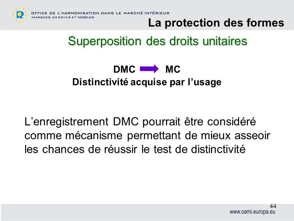 Superposition des droits unitaires La protection des formes 44 Lenregistrement DMC pourrait être considéré comme mécanisme permettant de mieux asseoir