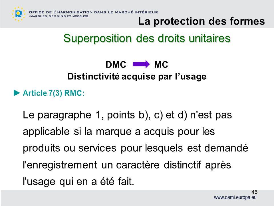 Superposition des droits unitaires La protection des formes 45 Article 7(3) RMC: Le paragraphe 1, points b), c) et d) n'est pas applicable si la marqu