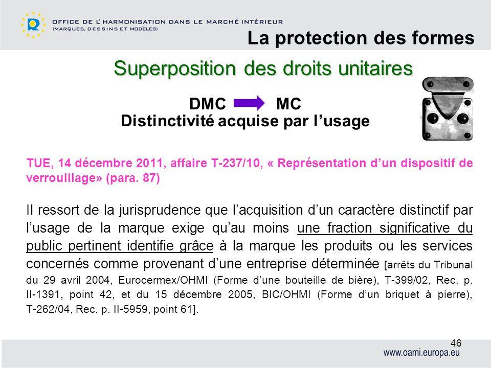 Superposition des droits unitaires La protection des formes 46 TUE, 14 décembre 2011, affaire T-237/10, « Représentation dun dispositif de verrouillag