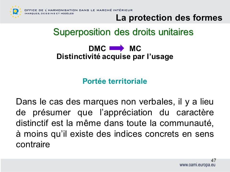 Superposition des droits unitaires La protection des formes 47 DMC MC Distinctivité acquise par lusage Portée territoriale Dans le cas des marques non