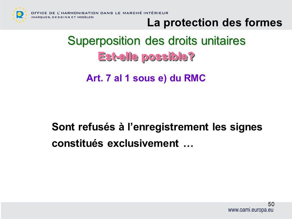 Superposition des droits unitaires La protection des formes 50 Sont refusés à lenregistrement les signes constitués exclusivement … Art. 7 al 1 sous e