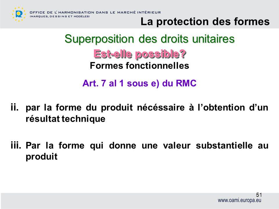 Superposition des droits unitaires La protection des formes 51 Formes fonctionnelles ii. par la forme du produit nécéssaire à lobtention dun résultat