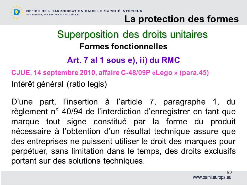 Superposition des droits unitaires La protection des formes 52 Formes fonctionnelles CJUE, 14 septembre 2010, affaire C-48/09P «Lego » (para.45) Intér