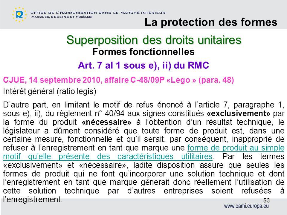 Superposition des droits unitaires La protection des formes 53 Formes fonctionnelles CJUE, 14 septembre 2010, affaire C-48/09P «Lego » (para. 48) Inté