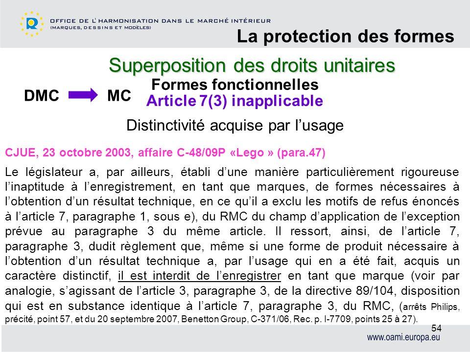 Superposition des droits unitaires La protection des formes 54 CJUE, 23 octobre 2003, affaire C-48/09P «Lego » (para.47) Le législateur a, par ailleur