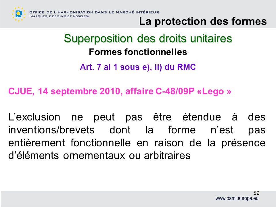 Superposition des droits unitaires La protection des formes 59 Formes fonctionnelles CJUE, 14 septembre 2010, affaire C-48/09P «Lego » Lexclusion ne p