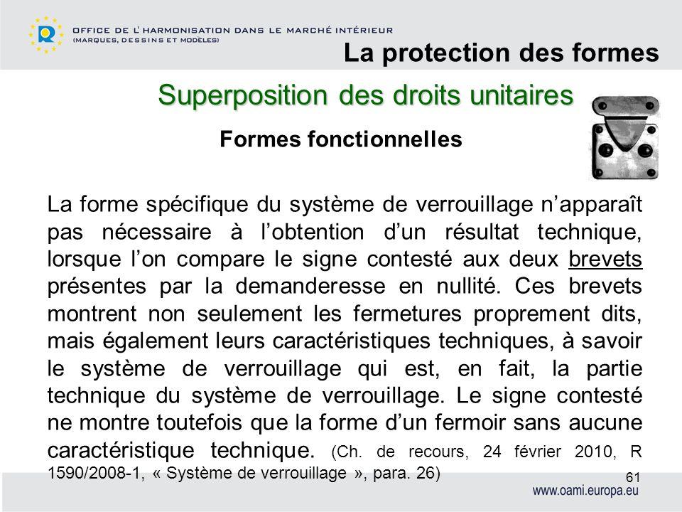 Superposition des droits unitaires La protection des formes 61 Formes fonctionnelles La forme spécifique du système de verrouillage napparaît pas néce