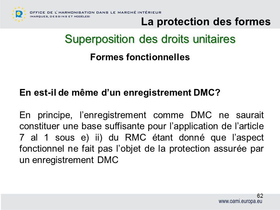 Superposition des droits unitaires La protection des formes 62 Formes fonctionnelles En est-il de même dun enregistrement DMC? En principe, lenregistr