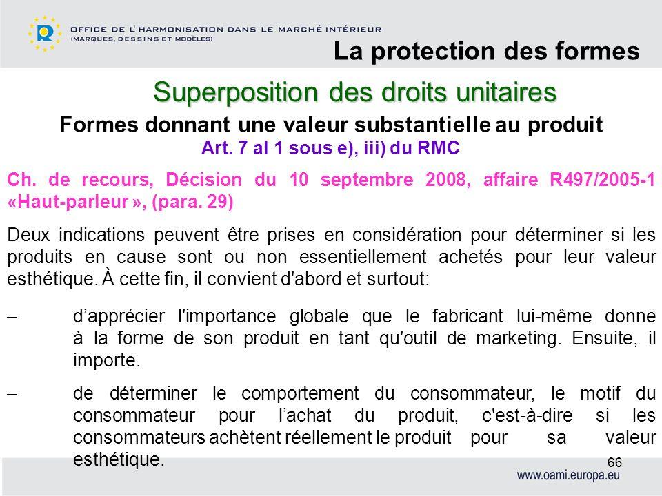 Superposition des droits unitaires La protection des formes 66 Formes donnant une valeur substantielle au produit Ch. de recours, Décision du 10 septe