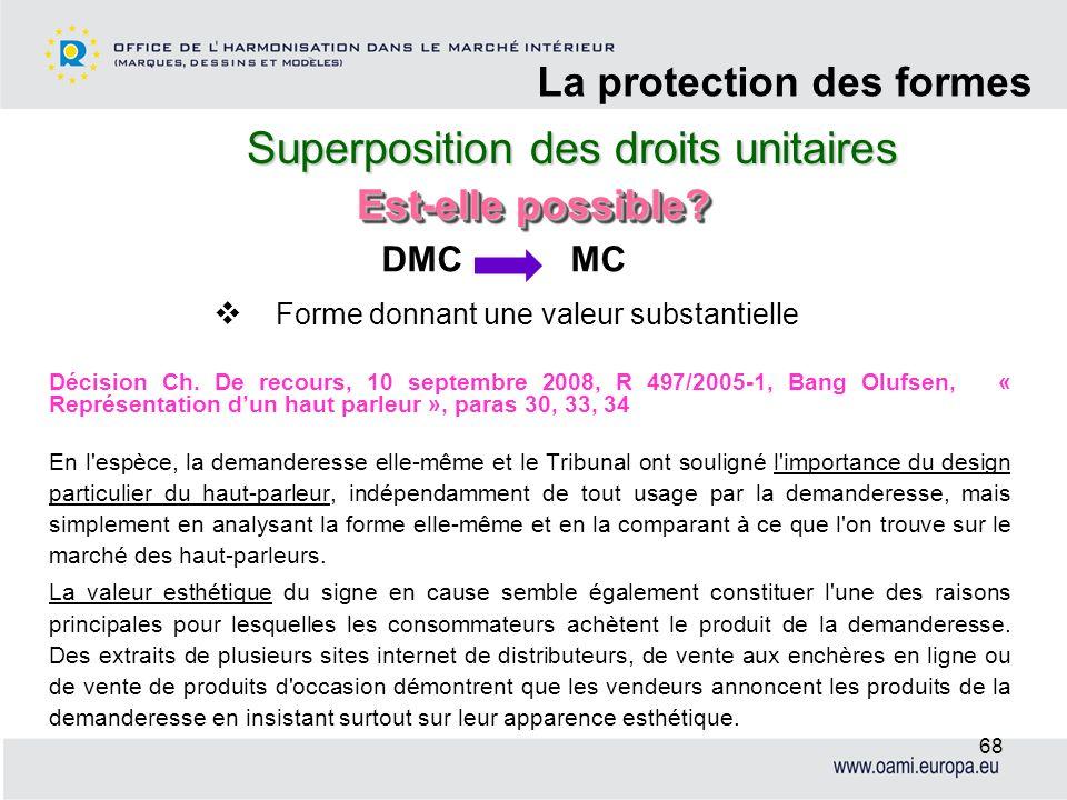 Superposition des droits unitaires La protection des formes 68 Décision Ch. De recours, 10 septembre 2008, R 497/2005-1, Bang Olufsen, « Représentatio