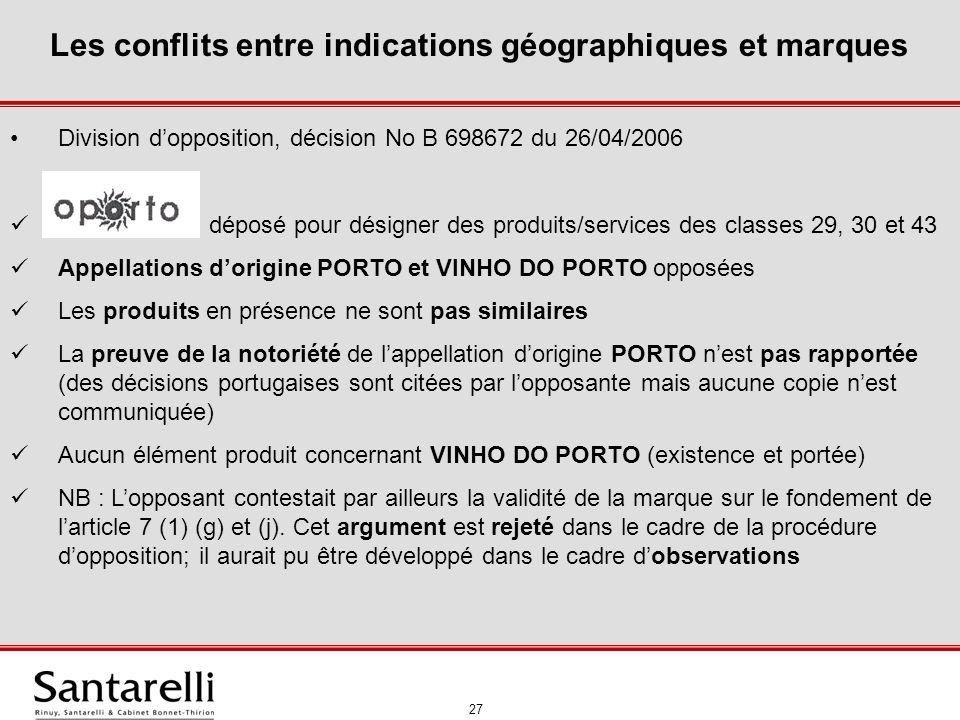28 Les conflits entre indications géographiques et marques II.