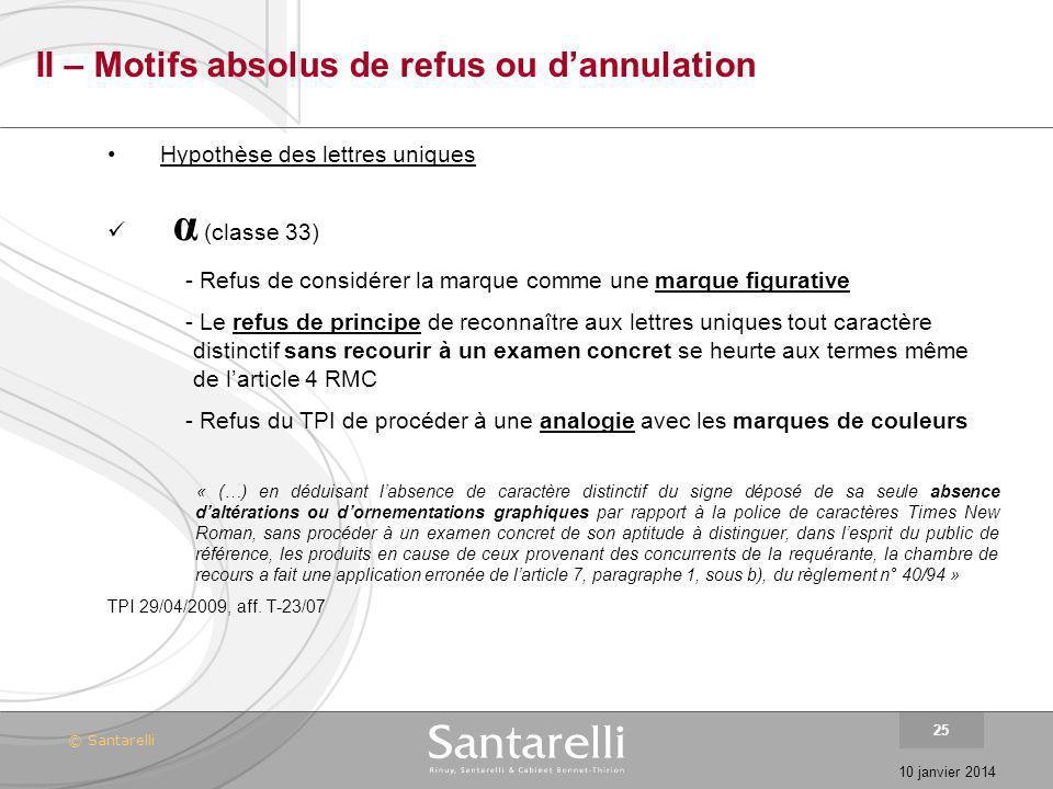 © Santarelli 10 janvier 2014 25 II – Motifs absolus de refus ou dannulation Hypothèse des lettres uniques α (classe 33) - Refus de considérer la marqu