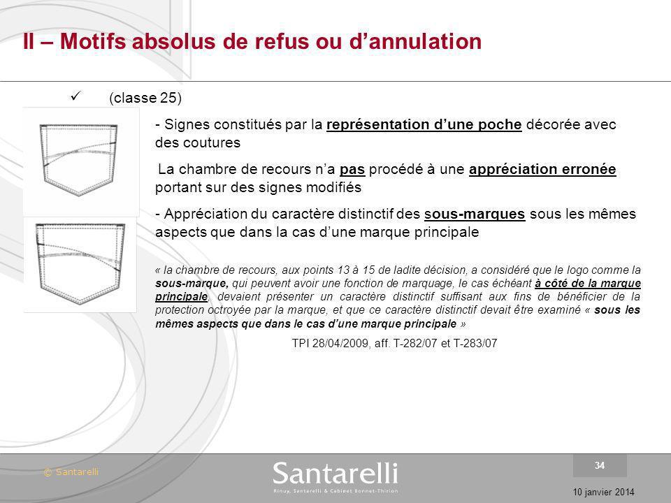 © Santarelli 10 janvier 2014 34 II – Motifs absolus de refus ou dannulation (classe 25) - Signes constitués par la représentation dune poche décorée a