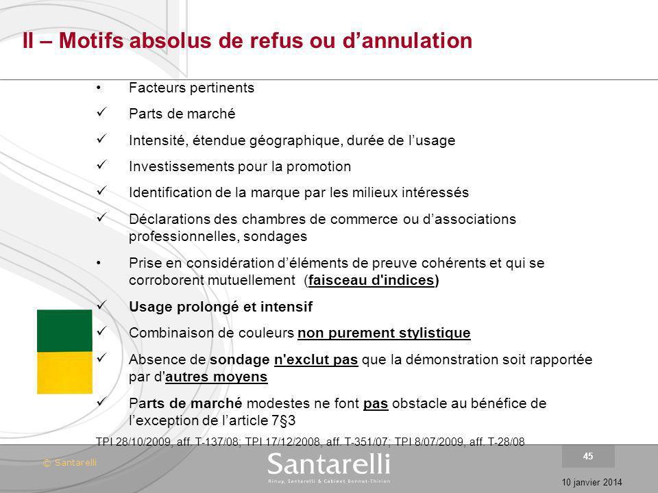 © Santarelli 10 janvier 2014 45 II – Motifs absolus de refus ou dannulation Facteurs pertinents Parts de marché Intensité, étendue géographique, durée