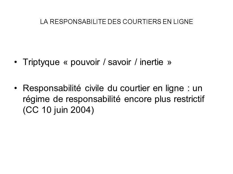 LA RESPONSABILITE DES COURTIERS EN LIGNE Triptyque « pouvoir / savoir / inertie » Responsabilité civile du courtier en ligne : un régime de responsabi