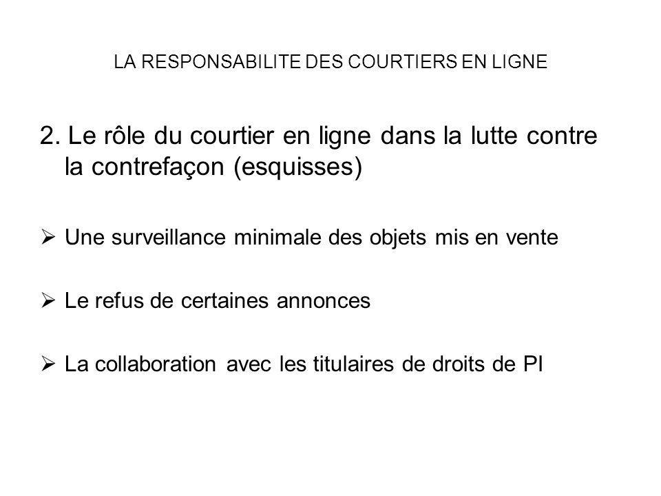 LA RESPONSABILITE DES COURTIERS EN LIGNE 2. Le rôle du courtier en ligne dans la lutte contre la contrefaçon (esquisses) Une surveillance minimale des