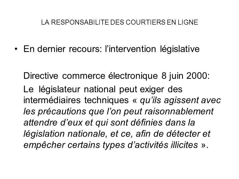 LA RESPONSABILITE DES COURTIERS EN LIGNE En dernier recours: lintervention législative Directive commerce électronique 8 juin 2000: Le législateur nat
