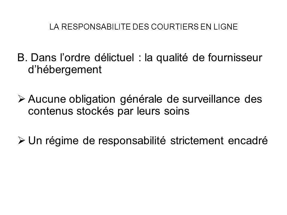 LA RESPONSABILITE DES COURTIERS EN LIGNE B. Dans lordre délictuel : la qualité de fournisseur dhébergement Aucune obligation générale de surveillance