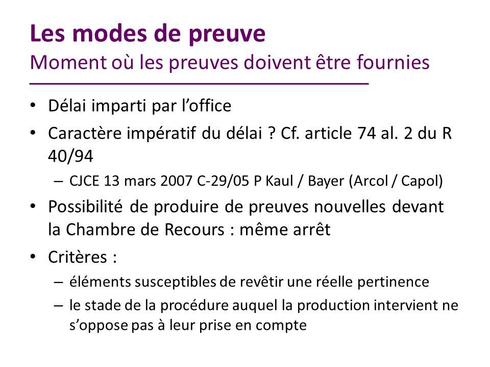 Les modes de preuve Moment où les preuves doivent être fournies Délai imparti par loffice Caractère impératif du délai .