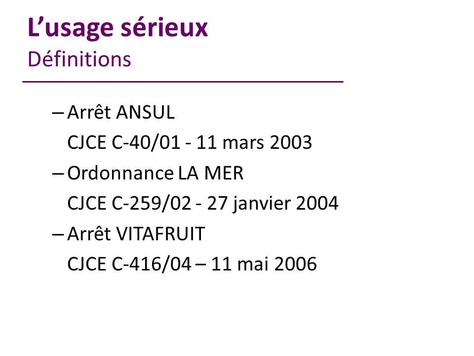 Lusage sérieux Définitions – Arrêt ANSUL CJCE C-40/01 - 11 mars 2003 – Ordonnance LA MER CJCE C-259/02 - 27 janvier 2004 – Arrêt VITAFRUIT CJCE C-416/04 – 11 mai 2006
