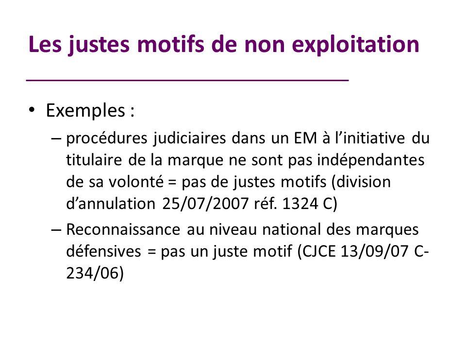 Les justes motifs de non exploitation Exemples : – procédures judiciaires dans un EM à linitiative du titulaire de la marque ne sont pas indépendantes de sa volonté = pas de justes motifs (division dannulation 25/07/2007 réf.