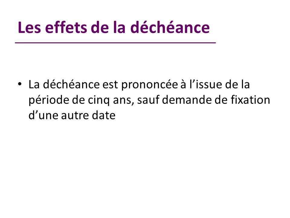 Les effets de la déchéance La déchéance est prononcée à lissue de la période de cinq ans, sauf demande de fixation dune autre date