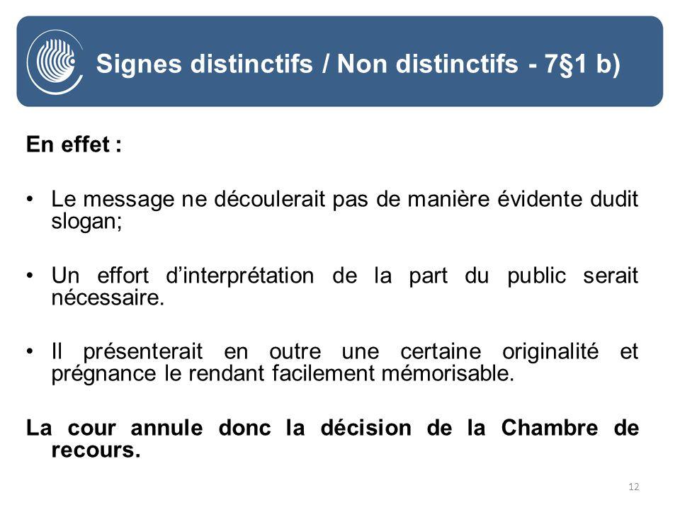12 Signes distinctifs / Non distinctifs - 7§1 b) En effet : Le message ne découlerait pas de manière évidente dudit slogan; Un effort dinterprétation de la part du public serait nécessaire.