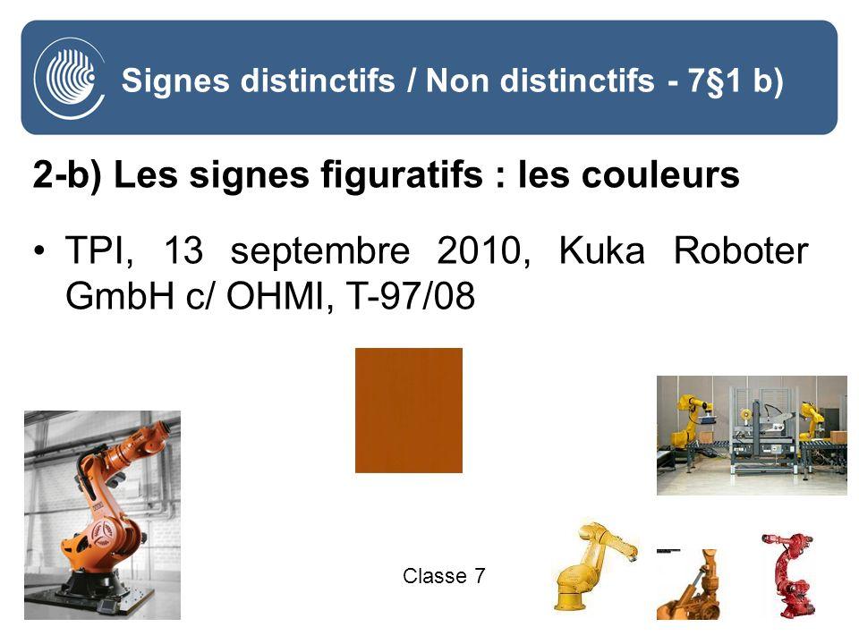 22 Signes distinctifs / Non distinctifs - 7§1 b) 2-b) Les signes figuratifs : les couleurs TPI, 13 septembre 2010, Kuka Roboter GmbH c/ OHMI, T-97/08 Classe 7