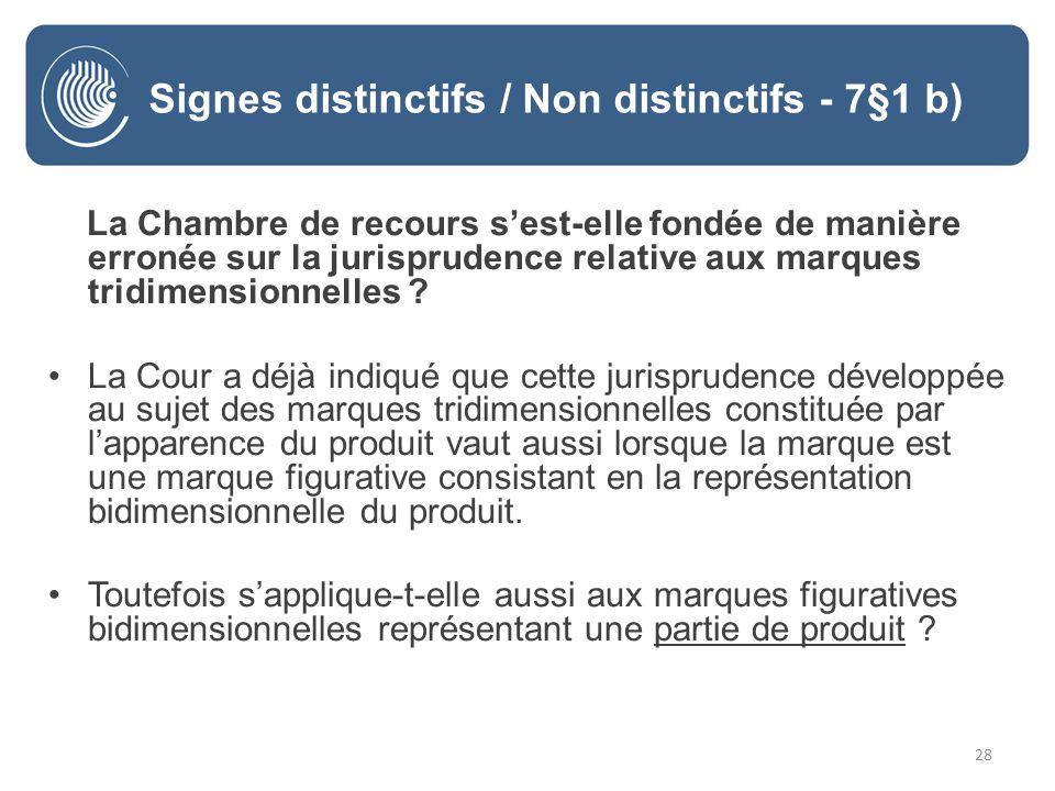 28 La Chambre de recours sest-elle fondée de manière erronée sur la jurisprudence relative aux marques tridimensionnelles .