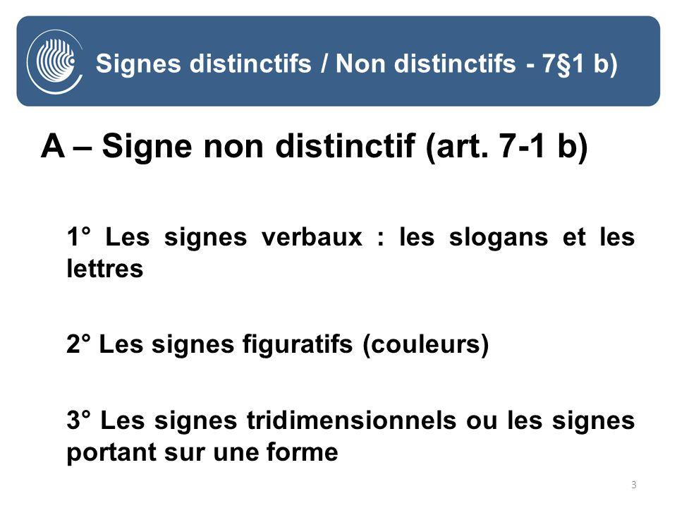 3 Signes distinctifs / Non distinctifs - 7§1 b) A – Signe non distinctif (art. 7-1 b) 1° Les signes verbaux : les slogans et les lettres 2° Les signes