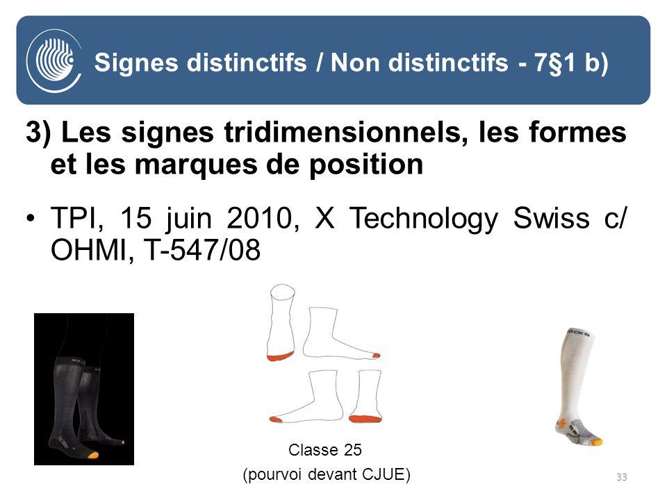 33 Signes distinctifs / Non distinctifs - 7§1 b) 3) Les signes tridimensionnels, les formes et les marques de position TPI, 15 juin 2010, X Technology Swiss c/ OHMI, T-547/08 Classe 25 (pourvoi devant CJUE)
