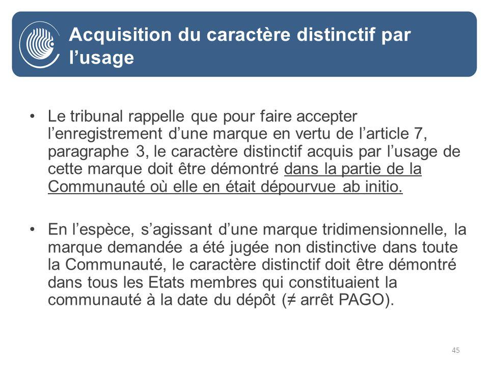 45 Le tribunal rappelle que pour faire accepter lenregistrement dune marque en vertu de larticle 7, paragraphe 3, le caractère distinctif acquis par lusage de cette marque doit être démontré dans la partie de la Communauté où elle en était dépourvue ab initio.