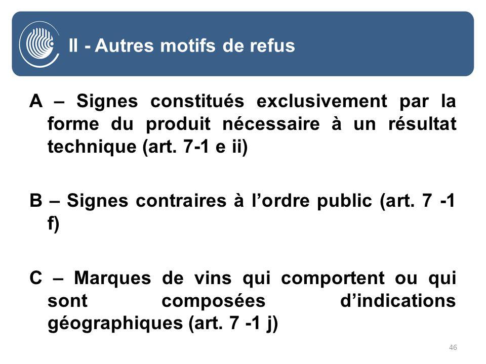 46 II - Autres motifs de refus A – Signes constitués exclusivement par la forme du produit nécessaire à un résultat technique (art.