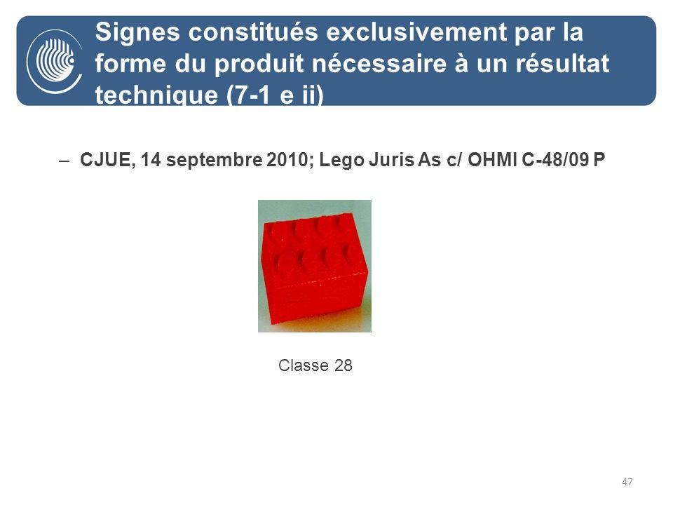 47 –CJUE, 14 septembre 2010; Lego Juris As c/ OHMI C-48/09 P Classe 28 Signes constitués exclusivement par la forme du produit nécessaire à un résultat technique (7-1 e ii)