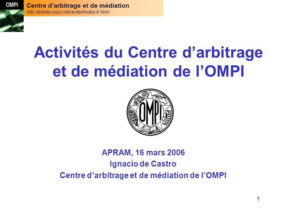 Centre darbitrage et de médiation http://arbiter.wipo.int/center/index-fr.html 12 Provenance des parties