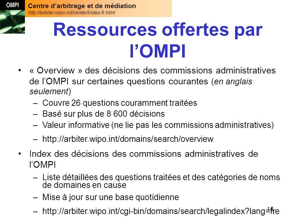 Centre darbitrage et de médiation http://arbiter.wipo.int/center/index-fr.html 15 Ressources offertes par lOMPI « Overview » des décisions des commiss