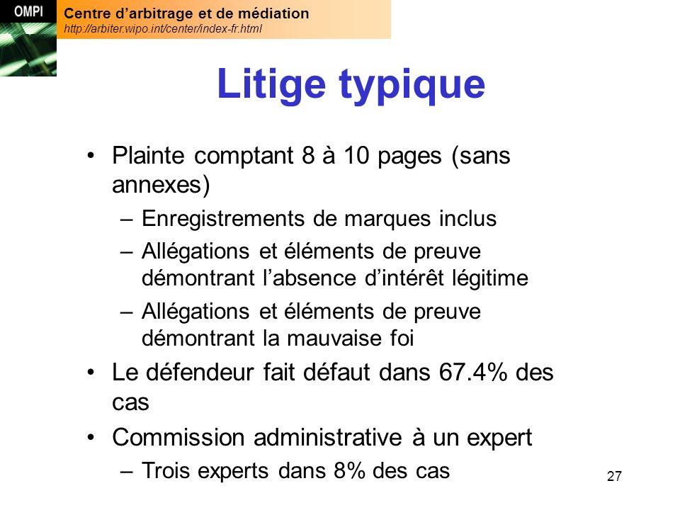 Centre darbitrage et de médiation http://arbiter.wipo.int/center/index-fr.html 27 Litige typique Plainte comptant 8 à 10 pages (sans annexes) –Enregis