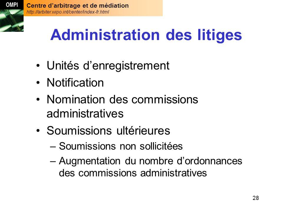 Centre darbitrage et de médiation http://arbiter.wipo.int/center/index-fr.html 28 Administration des litiges Unités denregistrement Notification Nomin