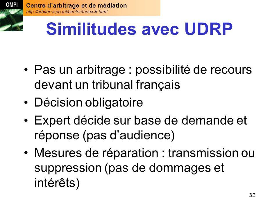 Centre darbitrage et de médiation http://arbiter.wipo.int/center/index-fr.html 32 Similitudes avec UDRP Pas un arbitrage : possibilité de recours deva