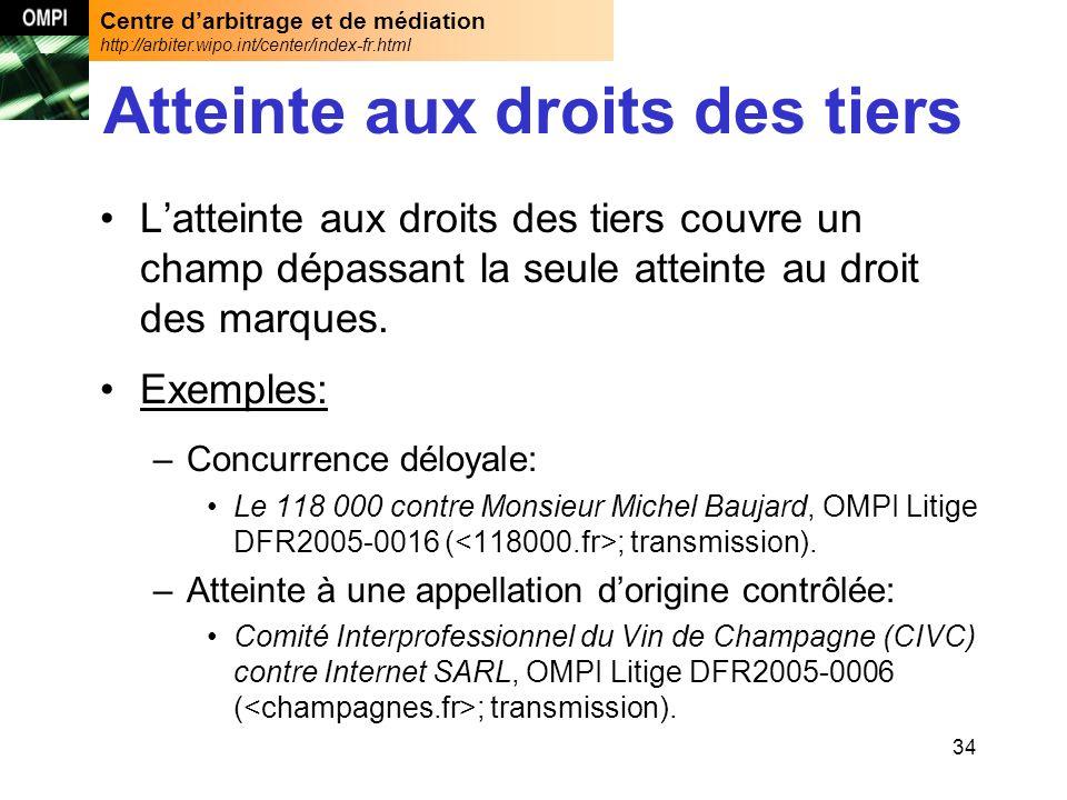 Centre darbitrage et de médiation http://arbiter.wipo.int/center/index-fr.html 34 Atteinte aux droits des tiers Latteinte aux droits des tiers couvre