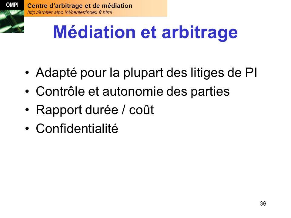 Centre darbitrage et de médiation http://arbiter.wipo.int/center/index-fr.html 36 Médiation et arbitrage Adapté pour la plupart des litiges de PI Contrôle et autonomie des parties Rapport durée / coût Confidentialité