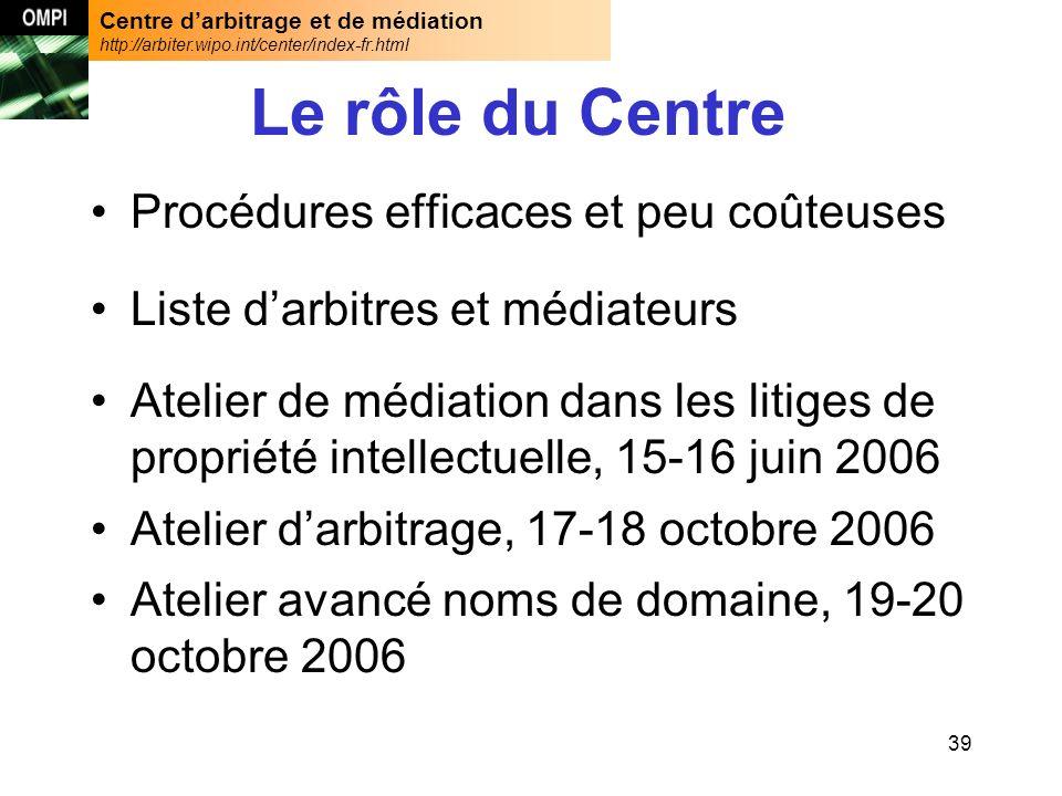 Centre darbitrage et de médiation http://arbiter.wipo.int/center/index-fr.html 39 Le rôle du Centre Procédures efficaces et peu coûteuses Liste darbit
