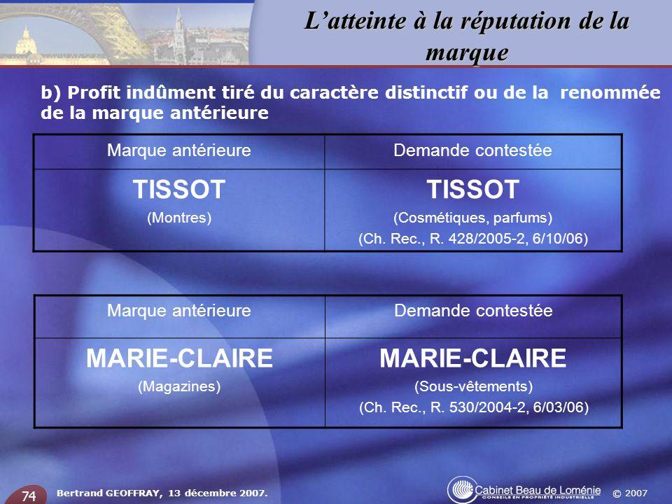 © 2007 Latteinte à la réputation de la marque Bertrand GEOFFRAY, 13 décembre 2007. 74 b) Profit indûment tiré du caractère distinctif ou de la renommé