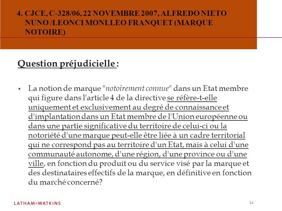 13 3. CJCE, C-246/05, 14 JUIN 2007, ARMIN HÄUPL / LIDL STIFTUNG & CO (LA NOTION DE JUSTE MOTIF POUR LE NON-USAGE) Réponse de la CJCE : L'article 12, p