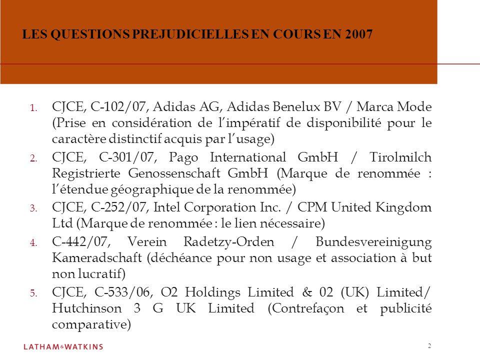 1 LES QUESTIONS PREJUDICIELLES TRANCHEES EN 2007 1.
