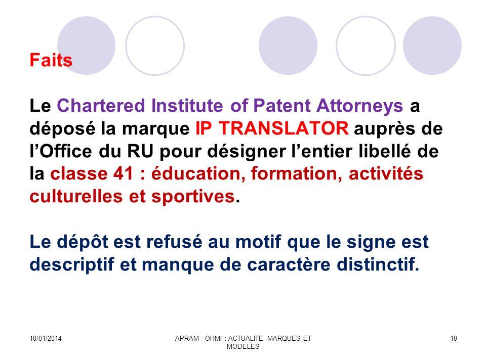 Faits Le Chartered Institute of Patent Attorneys a déposé la marque IP TRANSLATOR auprès de lOffice du RU pour désigner lentier libellé de la classe 4