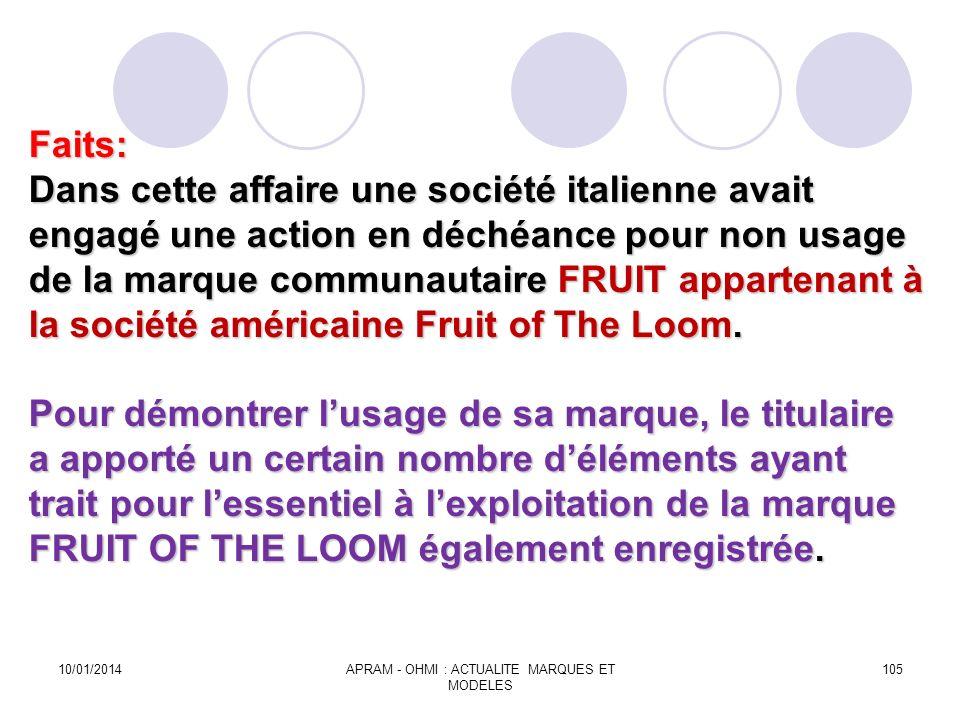 Faits: Dans cette affaire une société italienne avait engagé une action en déchéance pour non usage de la marque communautaire FRUIT appartenant à la