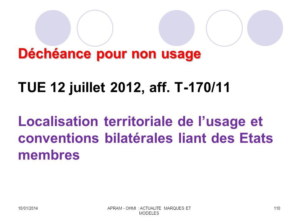 Déchéance pour non usage Déchéance pour non usage TUE 12 juillet 2012, aff. T-170/11 Localisation territoriale de lusage et conventions bilatérales li