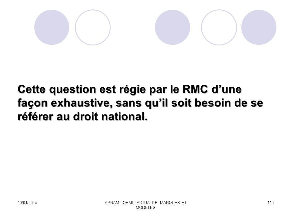 Cette question est régie par le RMC dune façon exhaustive, sans quil soit besoin de se référer au droit national. 10/01/2014APRAM - OHMI : ACTUALITE M