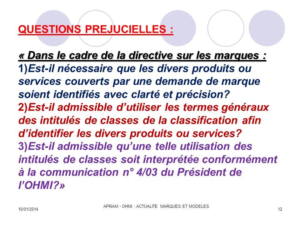 « Dans le cadre de la directive sur les marques : QUESTIONS PREJUCIELLES : « Dans le cadre de la directive sur les marques : 1)Est-il nécessaire que l